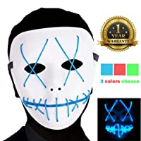 AnseeDirect The Purge Mask Maschera Halloween LED Glowing Mask per Festival Costume Party Cosplay