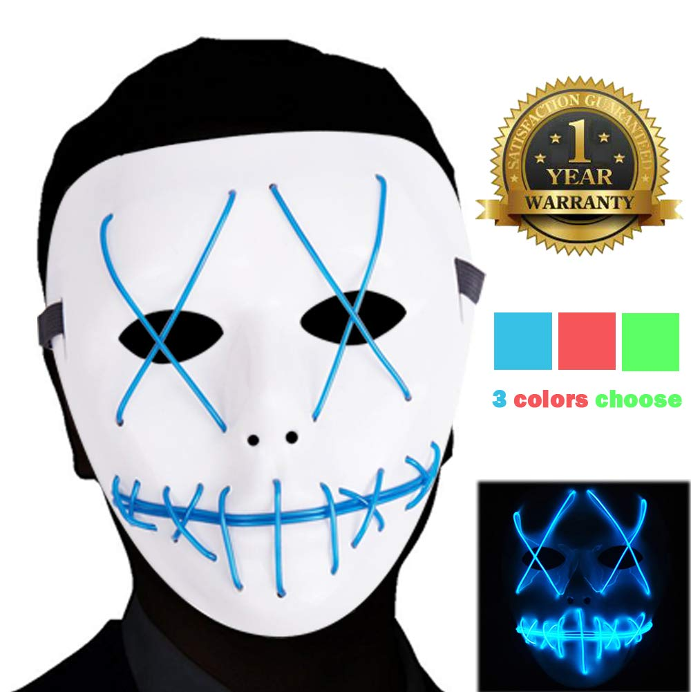 Ansee Scary Mask Halloween Cosplay Led Costume Mask El Wire Light Up Mask for Festival Parties (Purge Mask Blue)