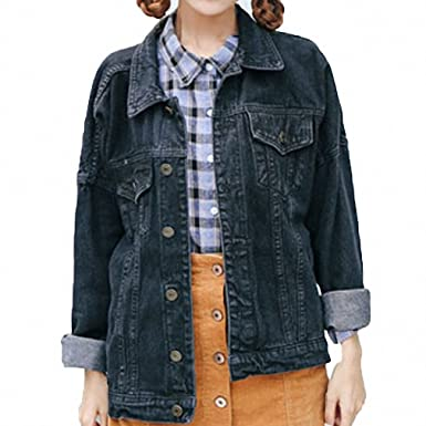 Womens Denim Jacket BF Denim Jakcet Long Sleeve Jeans Coat Balck S