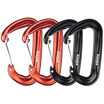 Kimjee 12KN Aluminum Carabiner D-Ring Locking Carabiners Clip Screw Gate Hooks Spring Link Buckle for Hammock Camping Hiking Backpack Dog Leash Screw Gate Hooks Spring Link Buckle for Camping Hiking Backpack Dog Leash Keychain Clip Black 5S Qianjiyao