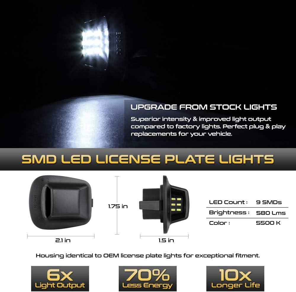 2-Piece Set VIPMOTOZ Full SMD LED License Plate Light Tag Lamp Assembly Replacement Pair For 1997-2011 Dodge Dakota Pickup Truck 6000K Diamond White