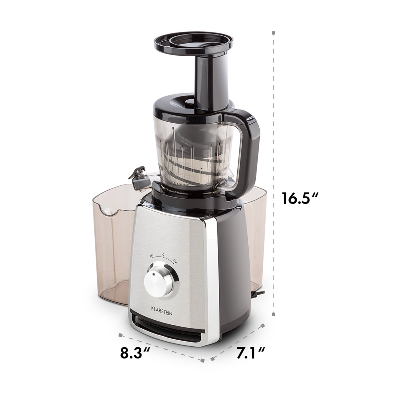 KLARSTEIN Sweetheart Slow Masticating Juicer Extractor /• Fruit /& Vegetable Cold Press Juicer Machine /• 150 W /• Slow Speed /• Stainless Steel /• Reverse Function /• Chrome