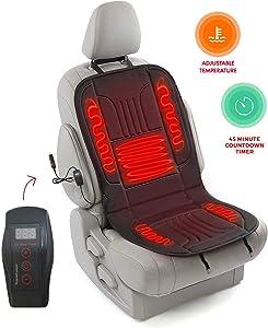 Zento Deals Automotive Premium Quality Ultra Comfortable Heated Car Seat Cushion 12V Adjustable Temperature (Black), Safer Nonflammable