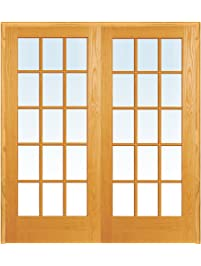 National Door Company Z019959BA Unfinished Pine Wood 15 Lite True Divided  Clear Glass, Both Active