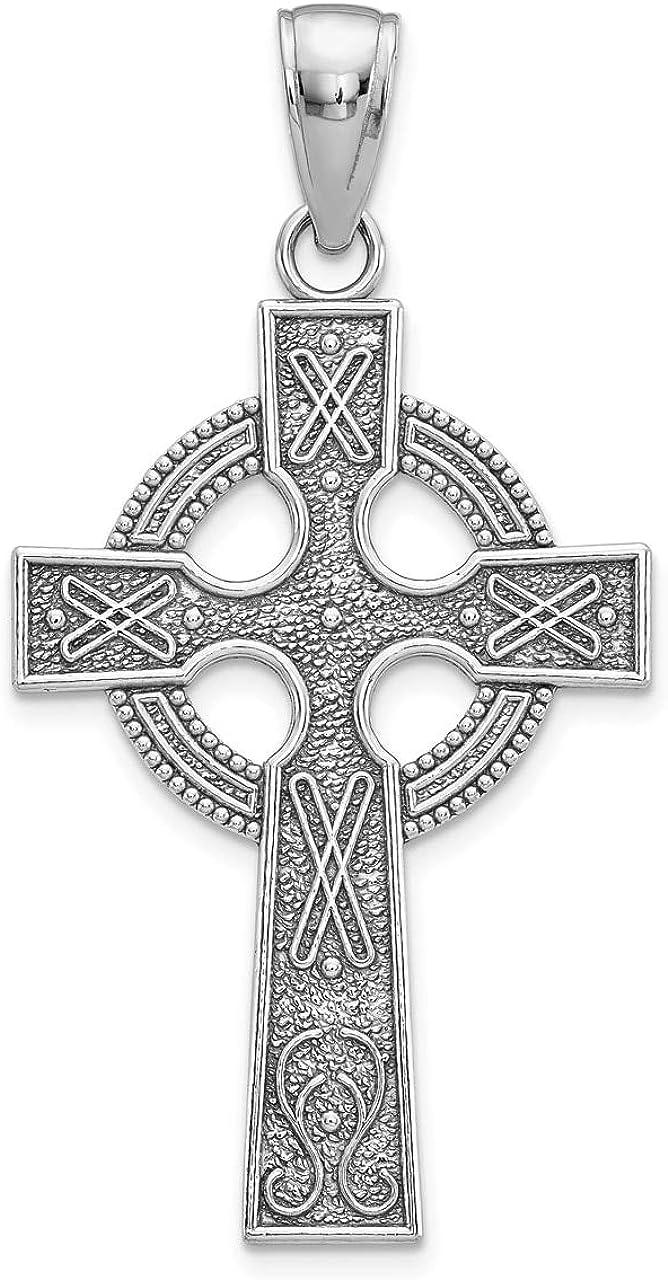 Lex /& Lu 14k White Gold Celtic Cross Pendant LALK5048W