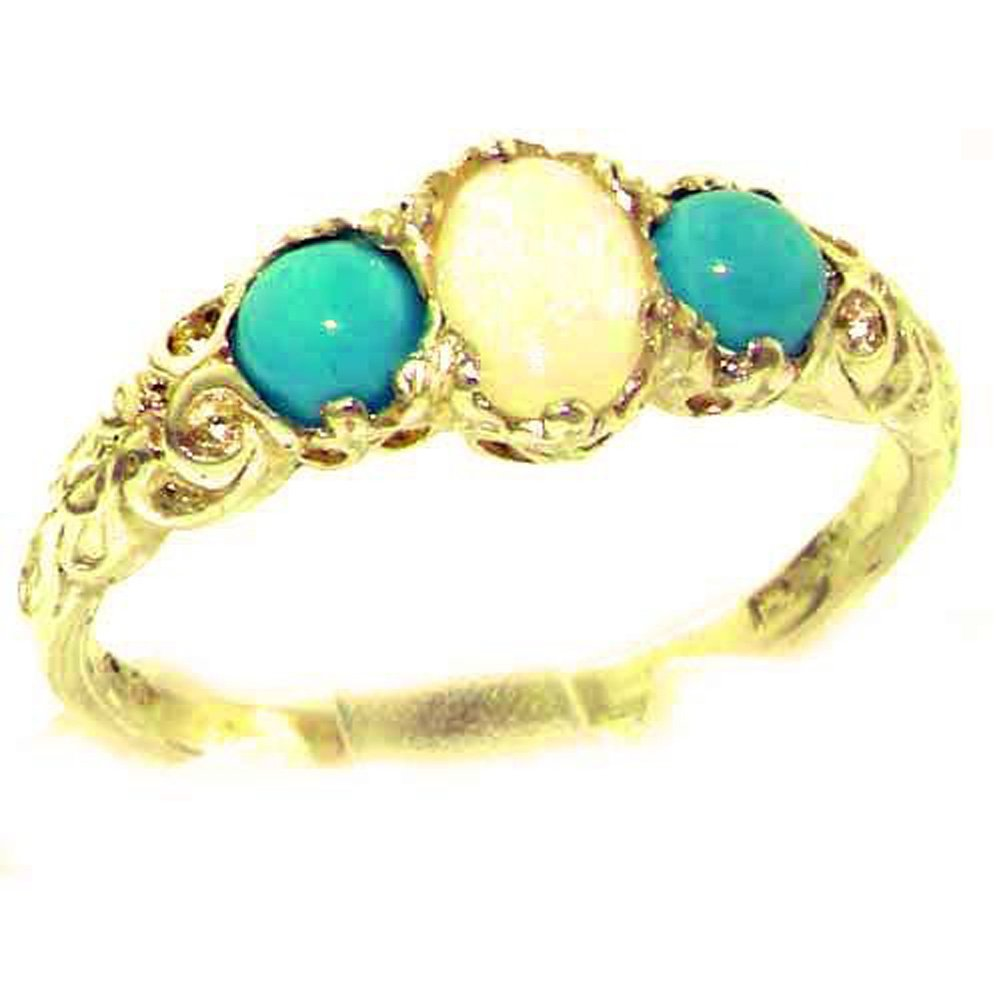 10k Yellow Gold Natural Opal & Turquoise Womens Trilogy Ring - Sizes 4 to 12 Available