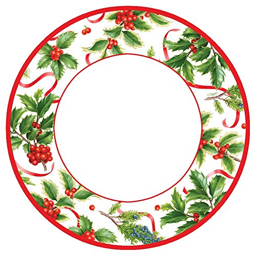 Entertaining with Caspari 13930SP Christmas Trimmings Ivory Paper, Salad/Dessert Plates, Berry Gathering Red