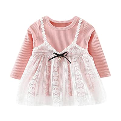 Alivego 0-3 Years Toddler Baby Girl Cute Knitted Lace Dress Outfit Clothes Overall Dress