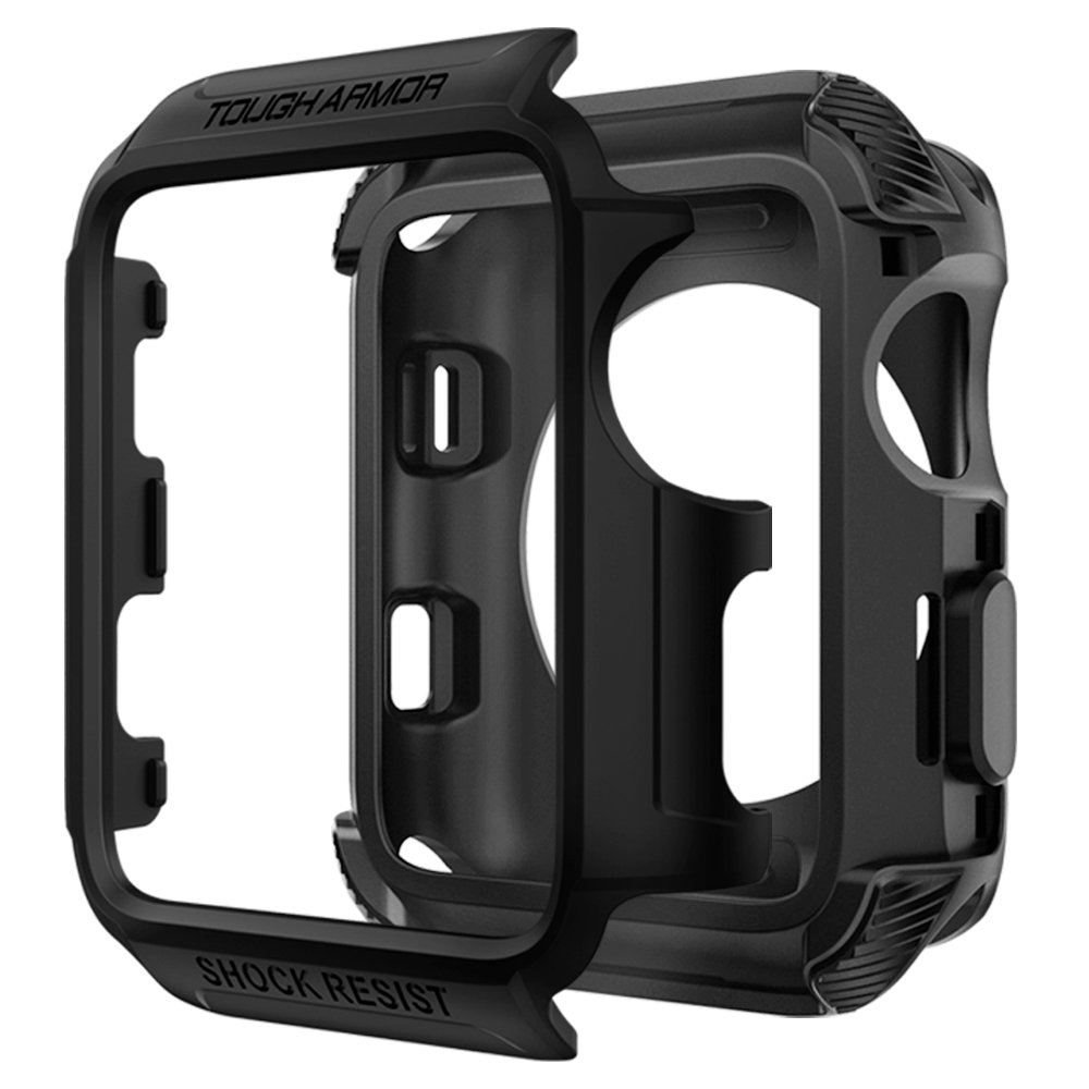 Spigen Tough Armor [2nd Generation] Designed for Apple Watch Case for 38mm Series 3 / Series 2 / Series 1 - Matte Black by Spigen