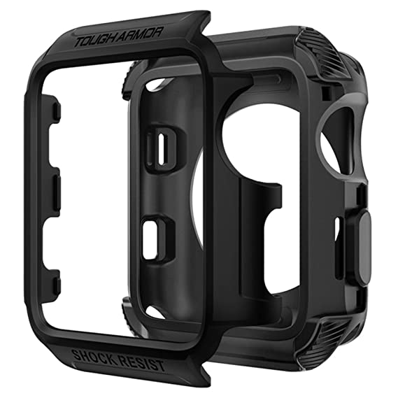 new product 093a3 e67f0 Spigen Tough Armor [2nd Generation] Designed for Apple Watch Case for 38mm  Series 3 / Series 2 / Series 1 - Matte Black