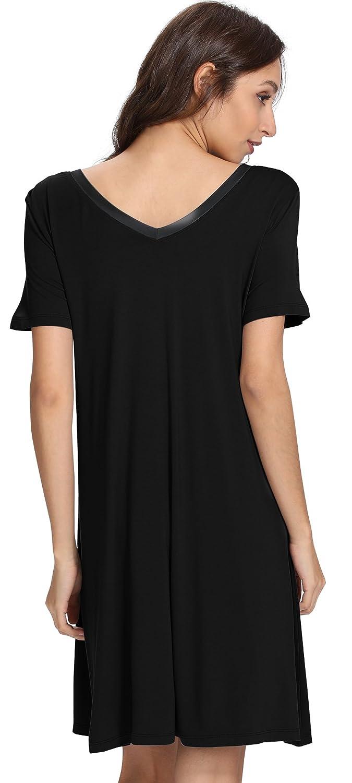 GYS Womens Short Sleeve Nightshirt V Neck Bamboo Nightgown AMP752Q c8e4283be
