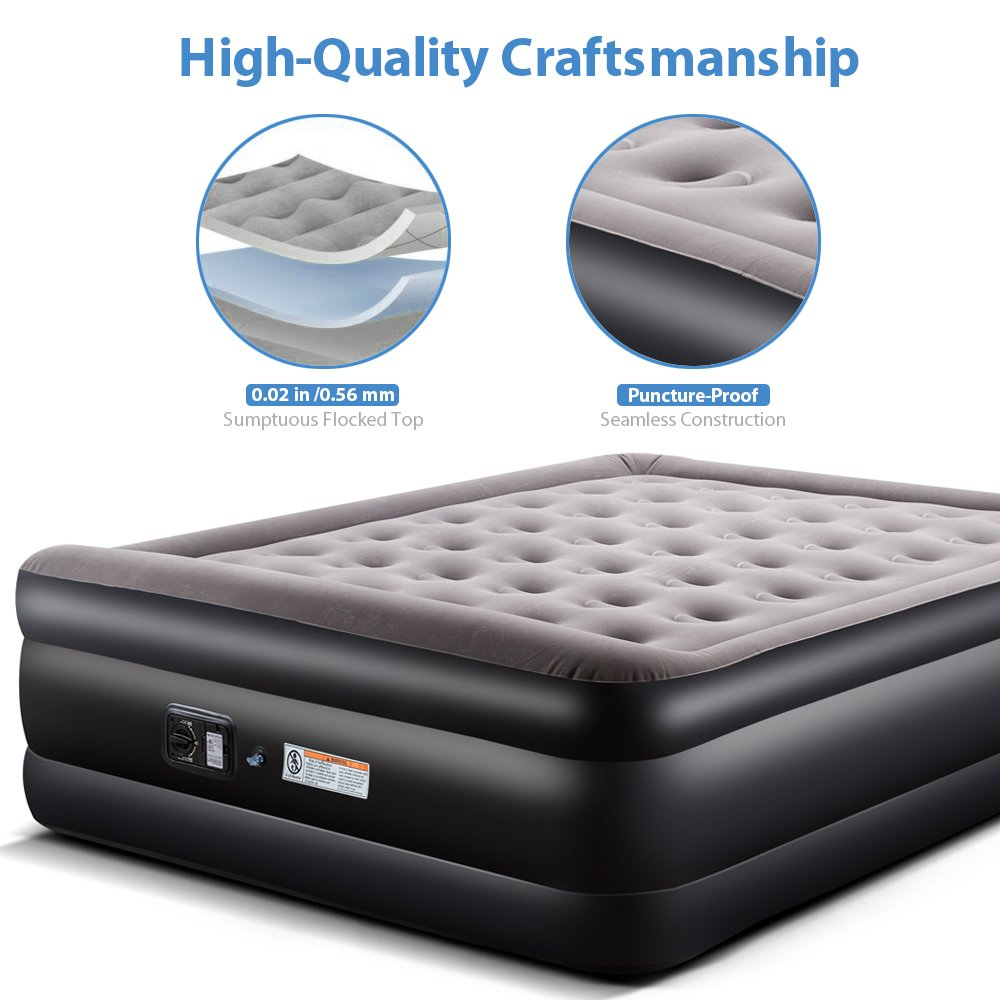 c9d8587b84e Zoetime Upgraded Queen Air Mattress Double Blow Up Elevated Raised Airbed  Inflatable Beds with Built-in Electric Pump