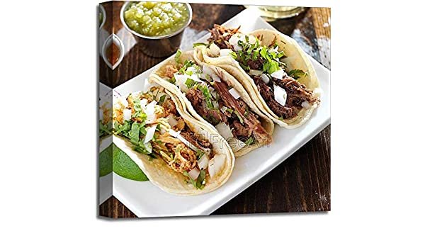 Amazon.com: Authentic Mexican Barbacoa, Carnitas and Chicken Tacos Paper Print Wall Art Gallery Wrapped Canvas Art (20in. x 20in.): Posters & Prints