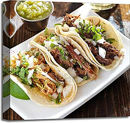 Authentic Mexican Barbacoa, Carnitas and Chicken Tacos Paper Print Wall Art Gallery Wrapped Canvas Art