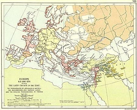 EUROPE: 12C Church Jerusalem Antioch Islam, 1897 map: Amazon.co.uk ...