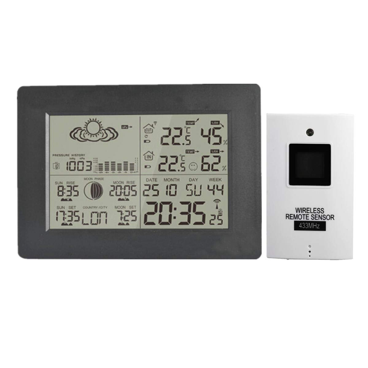 Anddoa LCD Wireless Weather Station Calendar Clock Thermometer Humidity with Backlight