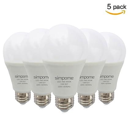 Simpome Bombillas LED E27 13W Equivalente a 100W, 3000K Blanco Cálido, 1100 Lumen,