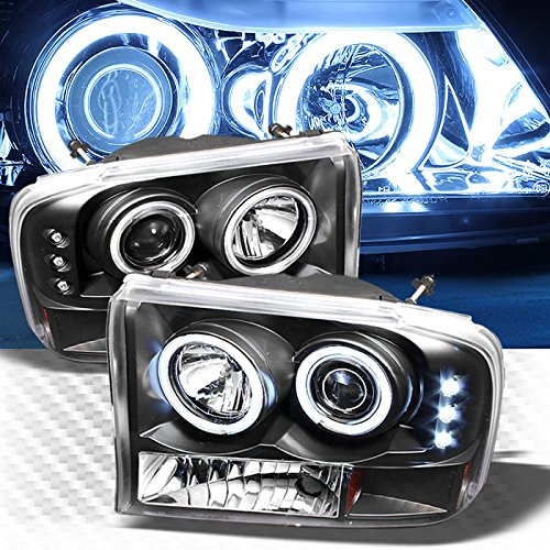 Xtune CCFL Halo LED Excursion F250 F350 Super Duty Projector Headlights Head Lights Pair L+R 1999 2000 2001 2002 2003 ()