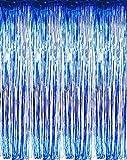 Set of 2 Shiny Metallic Foil Fringe Door & Window Curtain Party Decoration (Blue)