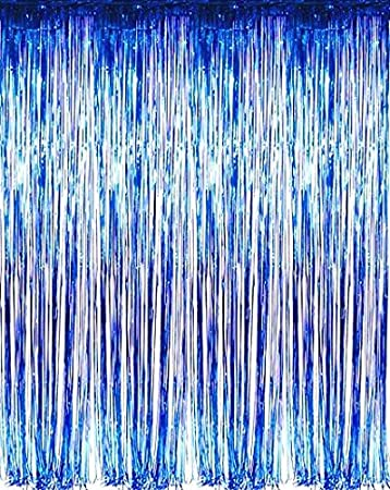 Set of 2 Blue Foil Fringe Door \u0026 Window Curtain Party Decoration 3\u0027 X 8