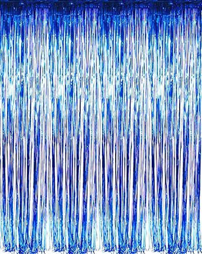 Set of 2 Shiny Metallic Foil Fringe Door & Window Curtain Party Decoration (Blue) ()