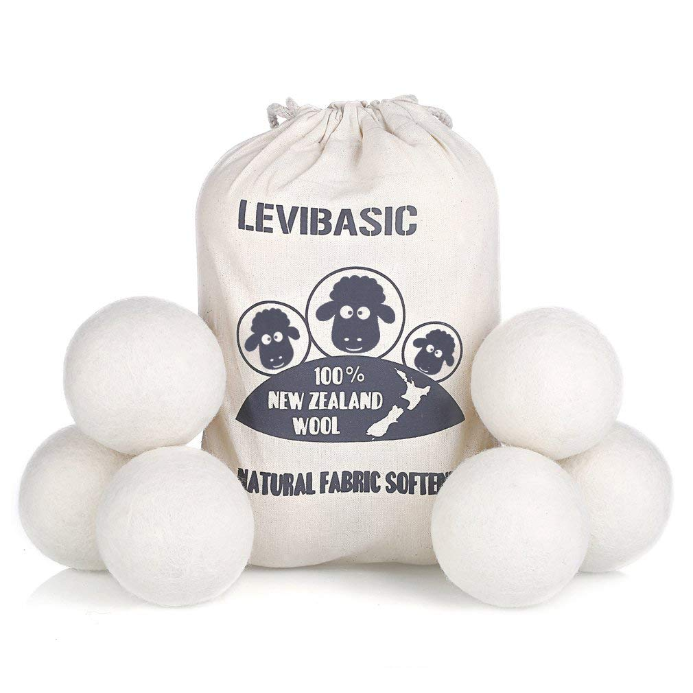 "Wool Dryer Balls 6 Pack XL, 3"" Genuine New Zealand Wool to Core, 100% Organic Fabric Softener Alternative, Baby Safe & Chemical Free, Reduce Wrinkles & Shorten Drying Time by LEVIBASIC (White-6pcs)"