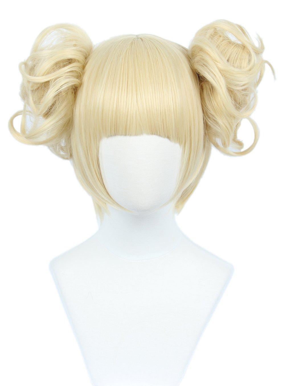Linfairy Anime Cosplay Wig Short Halloween Costume Hero Wig (blonde bun)