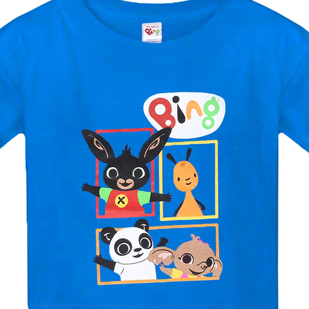 T-Shirt Unisex-Bambini Pando E Sula Regalo per Ragazzi T-Shirt per Bambino Bambina Maglietta di Cotone A Maniche Corte Flop Bing Bunny T-Shirt Bambino Blu