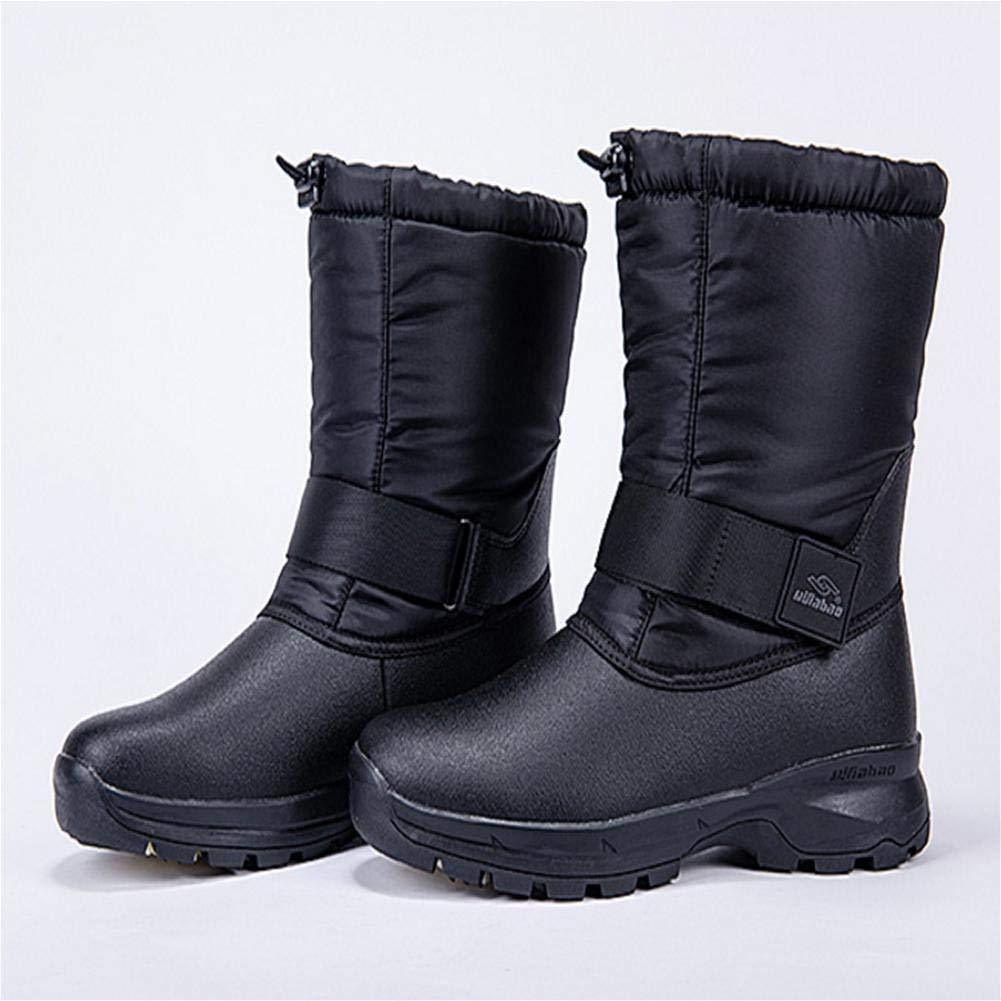 Schneeschuhe Winter Herren Plus SAMT Gepolsterte Rutschfeste Outdoor Wasserdichte Baumwolle Schuhe (Farbe   Schwarz, Größe   37)