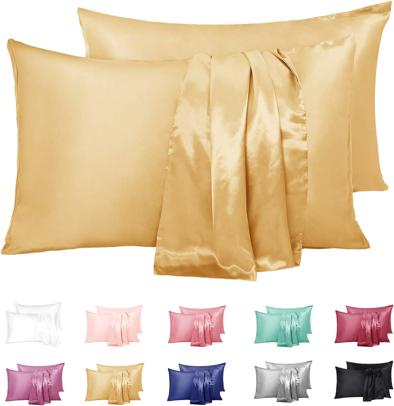 """Duerer Satin Pillowcase 2 Pack for Hair and Skin, Soft Pillow Cases Covers with Envelope Closure, Standard/Queen/King Size(20""""x30"""",Gold)"""