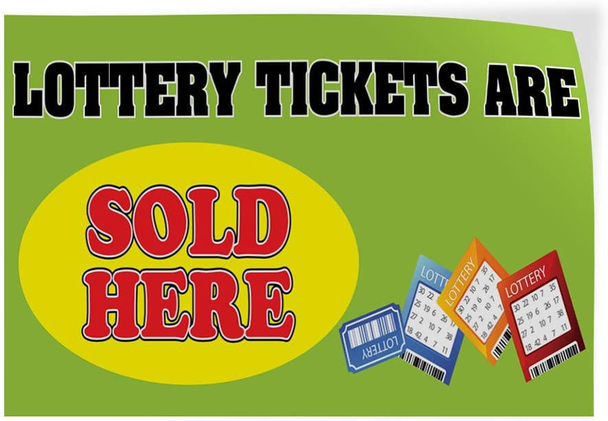 Decal Sticker Multiple Sizes Lottery Tickets are Sold Here Business Banners Lottery Games Outdoor Store Sign Green 28inx20in Set of 10