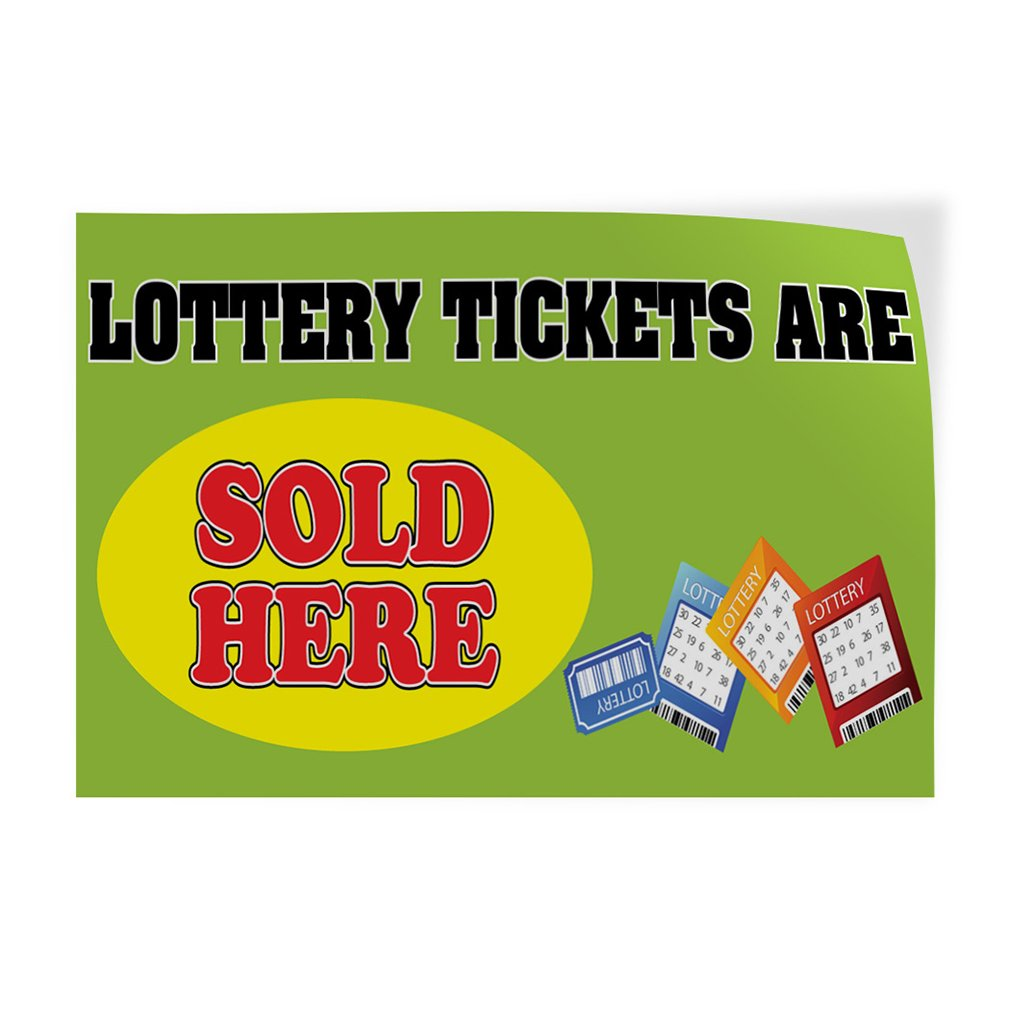 Set of 2 Decal Sticker Multiple Sizes Lottery Tickets are Sold Here Business Banners Lottery Games Outdoor Store Sign Green 66inx44in
