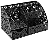 EasyPAG Office Supplies Desk Organizer Caddy, 6 Compartments, Black