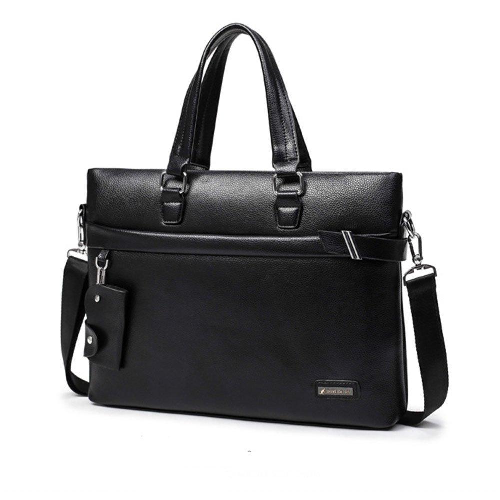 38x29x6.5cm Color : Black DQMSB Mens Handbag Business Travel Bag Shoulder Messenger Bag Briefcase Leather Bag Casual Black//Brown