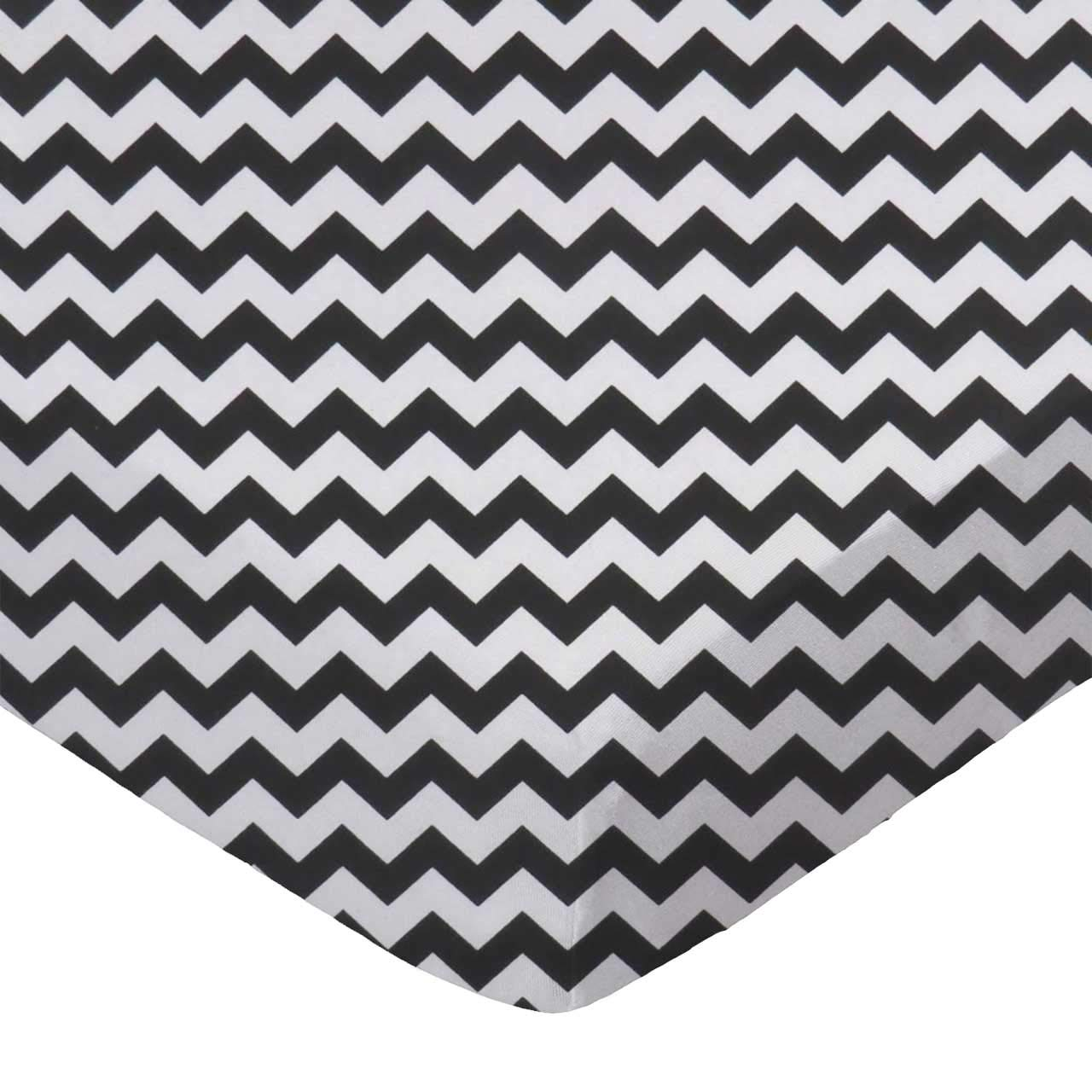 Hunter Green Chevron Zigzag Made In USA SheetWorld Fitted Cradle Sheet