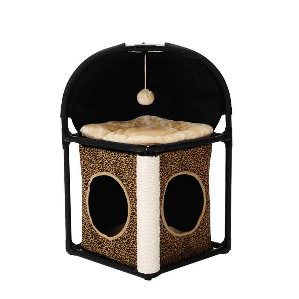Cat Bed, Tuodas Multifunctional Cat Condo House with Scratching Posts Kitty Toys Assemble Pet Bed Play House