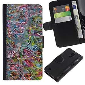 KingStore / Leather Etui en cuir / Samsung Galaxy S4 IV I9500 / Arte abstracto en colores pastel en color