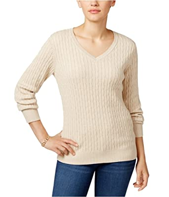 Karen Scott Womens Cable Knit V Neck Pullover Sweater At Amazon