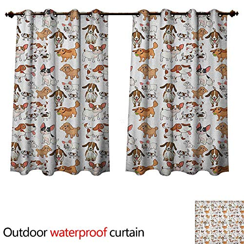 Anshesix Dog Lover Home Patio Outdoor Curtain Cartoon Style Chihuahua Terrier Bulldog and Beagle Funny Characters Purebred Pets W55 x L72(140cm x ()