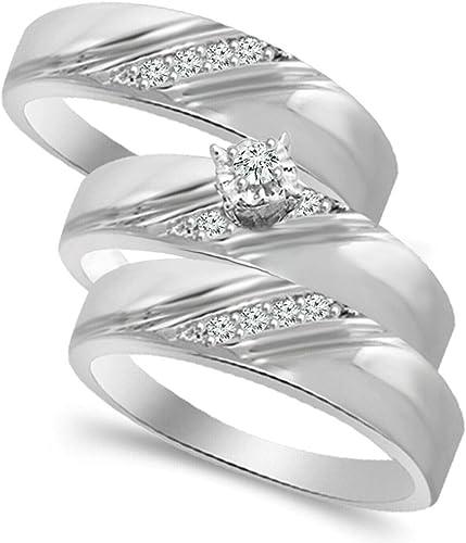 Amazon Com Diamond Scotch 14k White Gold Over Wedding Trio Set