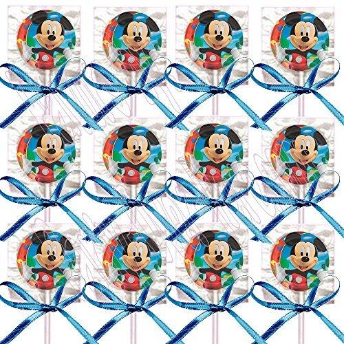 Mickey Mouse Party Favors Supplies Decorations GENERIC Lollipops w/ Blue Bows Favors -12 pcs -