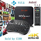 [2017 New Version] Genuine guarantee, sold by LCBOX, Kodi 17.6 MXQ Pro+ 2G RAM+16G ROM Android 7.1.2 Bluetooth TV BOX UHD 4K /64Bit/Amlogic S905X Quad Core+ Mini Wireless Keyboard