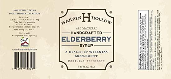 Harbin Hollow Elderberry Syrup- 8 oz Amber Glass Bottle – All-Natural – Handcrafted – Promotes Wellness – Offers Immune Support – Wildcrafted Elderberries, Middle TN Honey, Ginger, Lemons, Spices