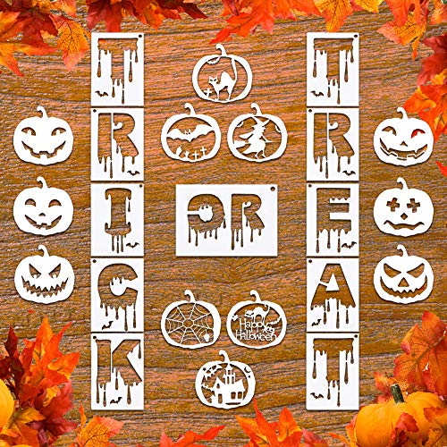 Halloween Window Paintings (23Pcs Halloween Plastic Painting Stencil, Reusable Porch Logo Stencils Pumpkin Expression Template DIY Card, Craft Art Painting Spray Window Glass Wood Airbrush and Wall)