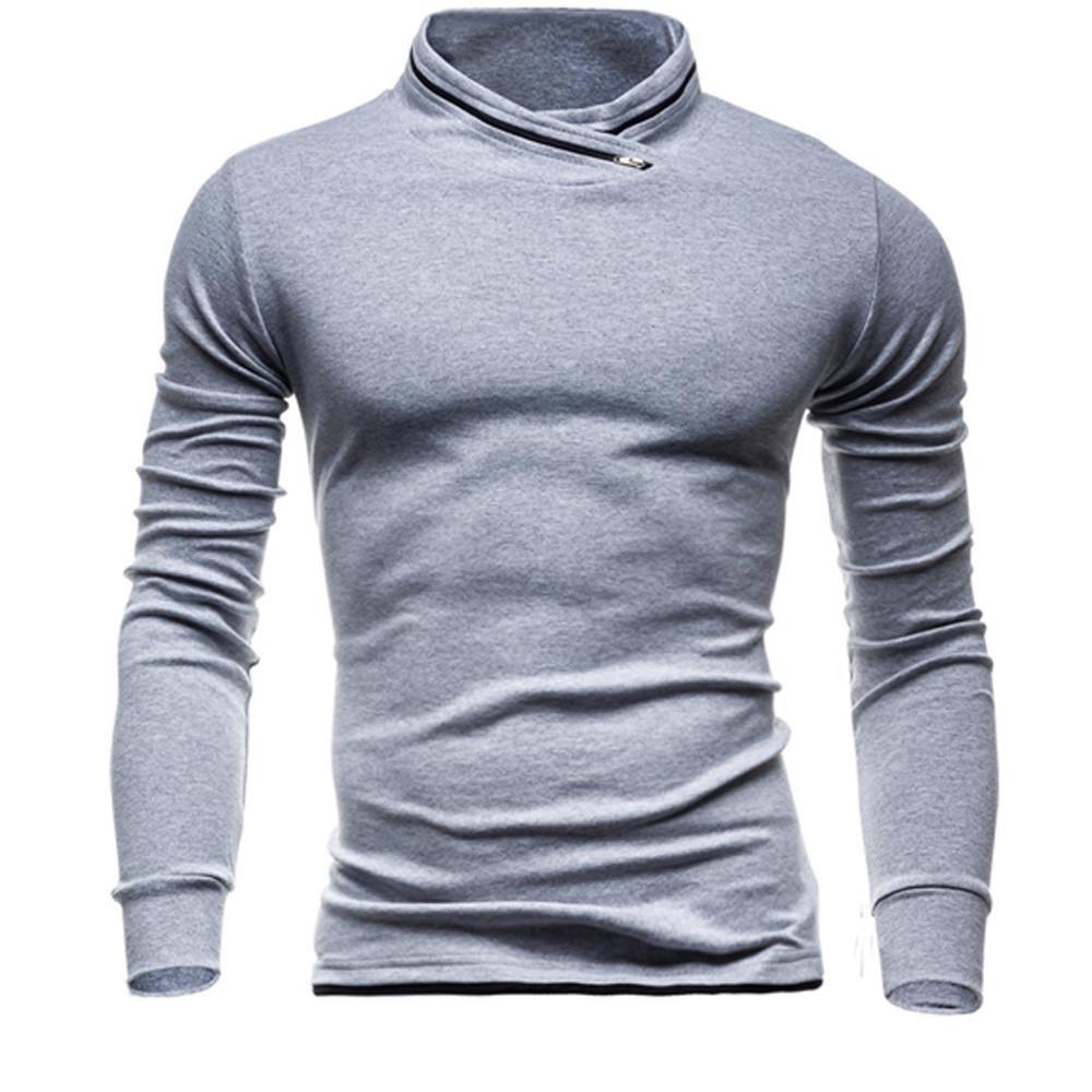 T-Shirt a Maniche Lunghe Uomo, Yesmile Uomo Maglia in Cotone con Maniche Lunghe Solid Timur Camiseta Básica De Manga Larga Longsleeve para Hombre