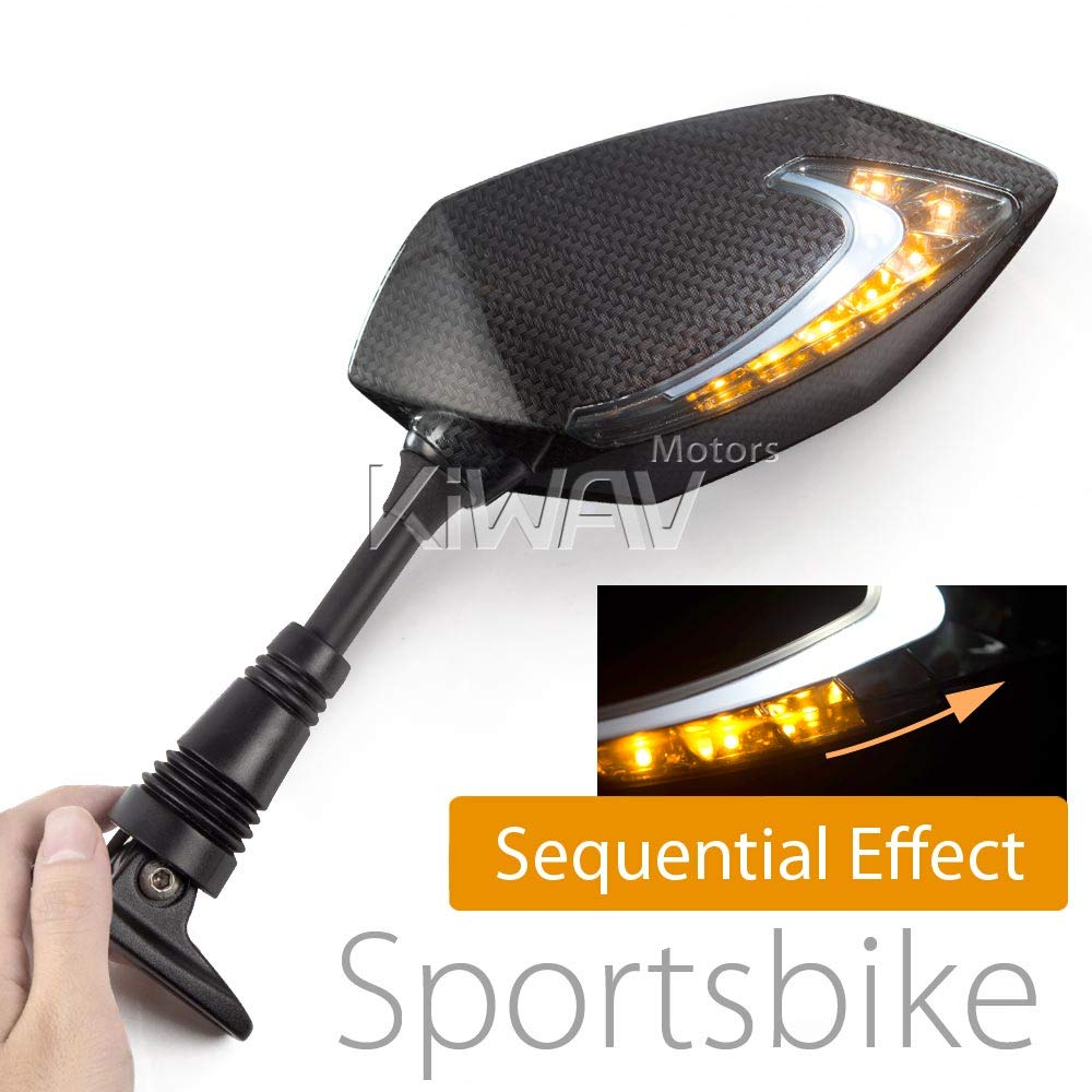 Motorcycle Two-tone LED with Sequential Effect Fairing Mount Mirrors Lucifer Carbon for Ducati Panigale Series Magazi