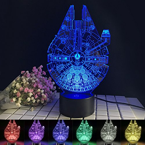 Millennium Falcon Night Light 3D Optical Illusion Desk Lamp 7 Color Changing Table Lamp Birthday Gift for Kids Star Wars ()