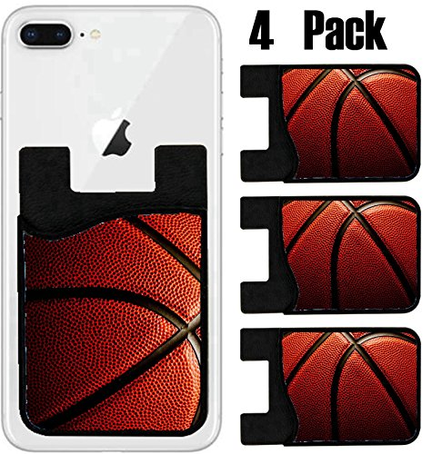 (MSD Phone Card holder, sleeve/wallet for iPhone Samsung Android and all smartphones with removable microfiber screen cleaner Silicone card Caddy(4 Pack) Basketball closeup IMAGE 10921822)