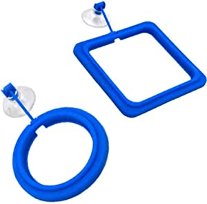 Ailindany 2PCS Fish Feeding Ring Round and Square Floating Food Feeder Circle with Suction Cup for Aquarium Fish Tank