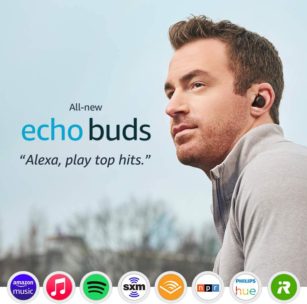 All-new Echo Buds (2nd Gen) | Wireless earbuds with active noise cancellation and Alexa | Wireless charging case | Black